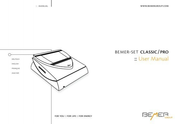 bemer-set classic    pro    user manual