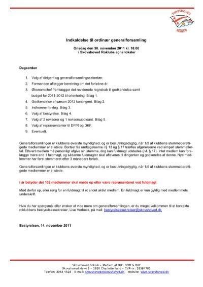 Indkaldelse til ordinær generalforsamling - Skovshoved Roklub