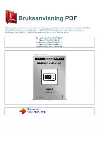 instruktionsbok voss moa4226rf bruksanvisning pdf. Black Bedroom Furniture Sets. Home Design Ideas