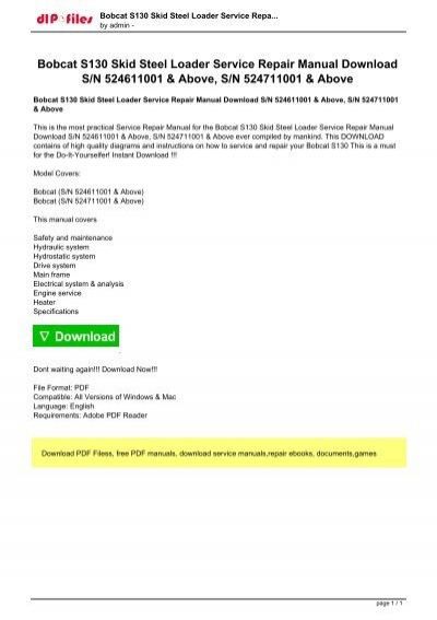 bobcat s130 service manual