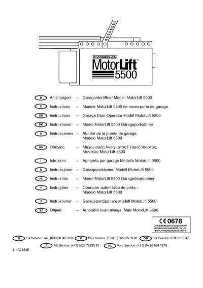 Garagentorffner Modell Motorlift 5500 Instructions Chamberlain
