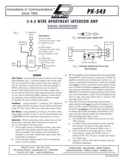 Pk-543 3-4-5 Wire Intercom Amplifier Wiring Diagram