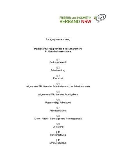 P Sammlung Manteltarifvertrag Für Das Friseurhandwerk