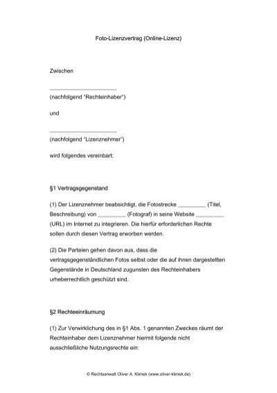 foto lizenzvertrag online lizenz zwischen oliver a klimek - Lizenzvertrag Muster