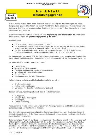 Merkblatt Belastungsgrenze  Landesamt für Besoldung und