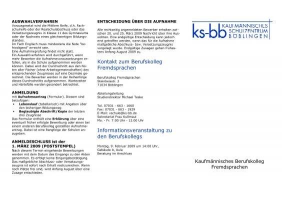 kontakt zum berufskolleg fremdsprachen informationsveranstaltung - Bewerbung Berufskolleg