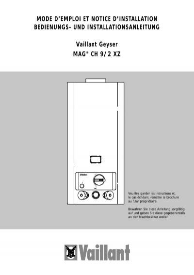 bedienungsanleitung mag 9 2 xz vaillant. Black Bedroom Furniture Sets. Home Design Ideas
