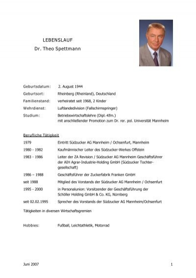 Lebenslauf Dr Theo Spettmann  Agrana. Proper Salutation Cover Letter Unknown Recipient. Cover Letter Sample Kenya. Resume Cv Kreator. Curriculum Vitae Pdf Para Imprimir. Letter Template Love. Curriculum Vitae 2018 Simple. Resume Format In Word 2010. Letter Of Application Phd