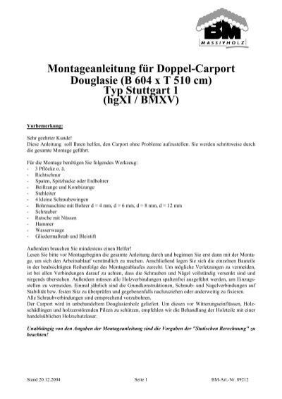 Montageanleitung f r doppel carport douglasie der for Montageanleitung carport