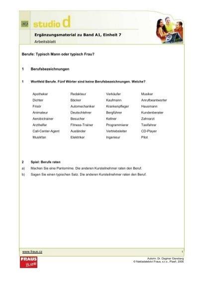 Ergänzungsmaterial zu Band A1, Einheit 7 Arbeitsblatt Berufe - Fraus