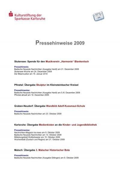 Pressehinweis - Stiftungen der Sparkasse Karlsruhe Ettlingen