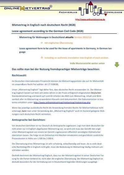 Mietvertrag englisch deutsch mit bersetzung for Deutsch italienisch ubersetzung