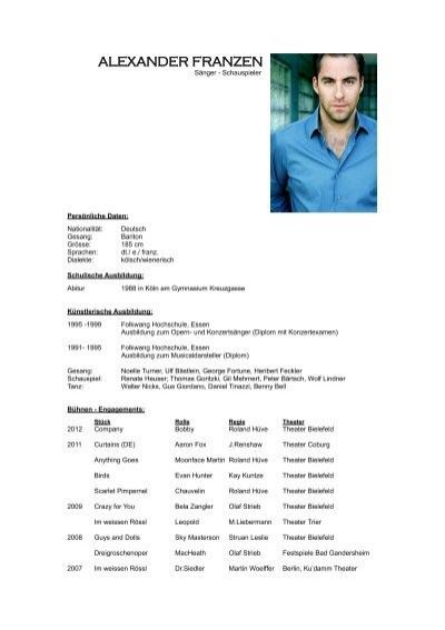 ausfhrlicher lebenslauf als pdf alexander franzen - Ausformulierter Lebenslauf Muster