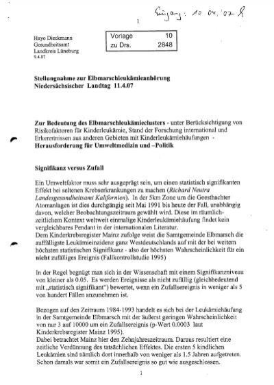 Leukämie-Anhörung Vorlage 6 Christian Küppers - StrahlenTelex