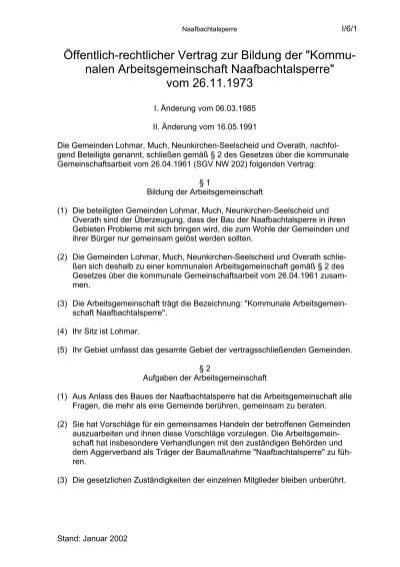 öffentlich Rechtlicher Vertrag Zur Bildung Der Kommu Nalen
