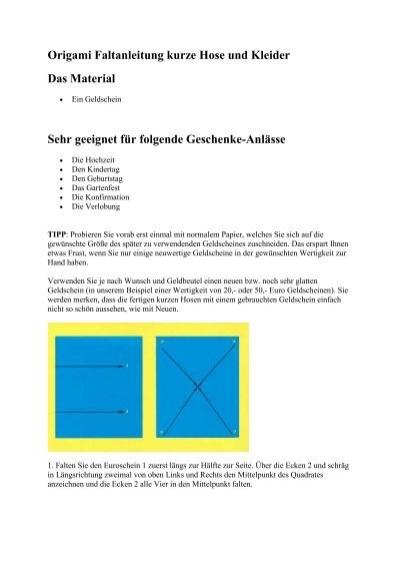 Origami Faltanleitung Kurze Hose Und Kleider Das Material Sehr