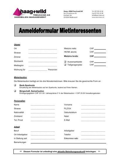 Anmeldeformular Für Mietinteressenten Wohnung In Basel Mieten