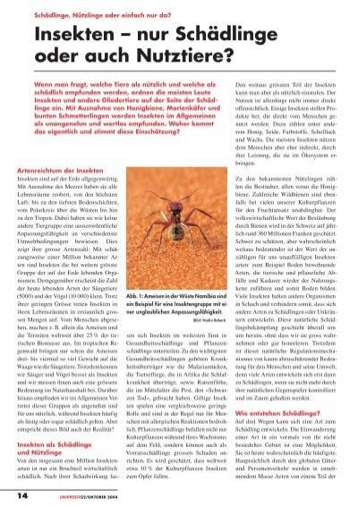 Insekten Nur Schadlinge Oder Auch Nutztiere Pdf 783kb
