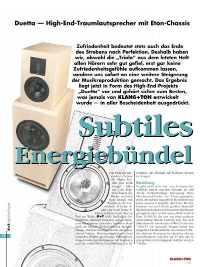 duetta high end traumlautsprecher mit eton chassis intertechnik. Black Bedroom Furniture Sets. Home Design Ideas