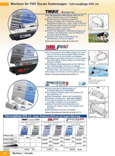 Markisen F R Fiat Ducato Kastenwagen Fahrzeugl Nge 636 Cm