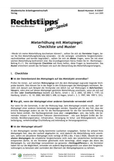 mieterhhung mit mietspiegel checkliste und muster rechtstippsde - Mieterhohungsschreiben Muster