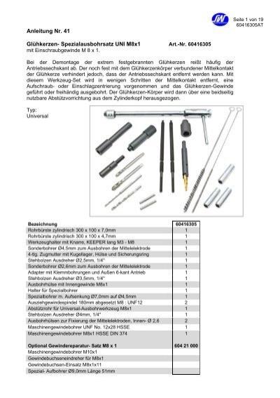 """Gelenkeinsätze Stecknuss-Satz 3//8/"""" Glühkerzen Ausbohr Werkzeug für M8 und M10"""