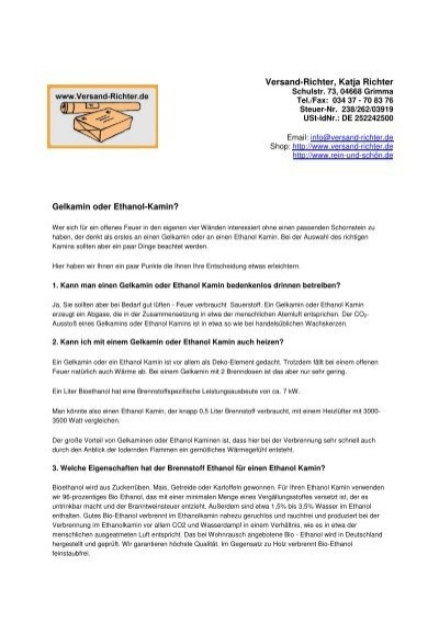 Versand Richter Katja Richter Gelkamin Oder Ethanol Kamin