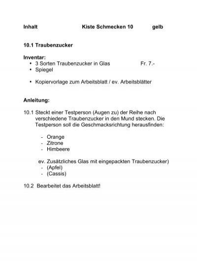 Inhalt Kiste Schmecken 9
