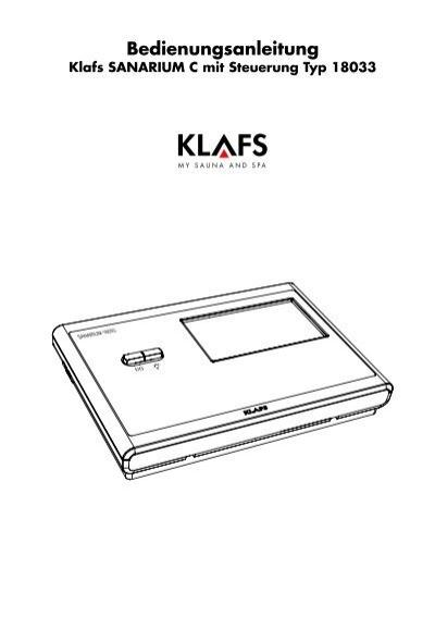 bedienungsanleitung klafs sanarium c mit steuerung typ 18033. Black Bedroom Furniture Sets. Home Design Ideas