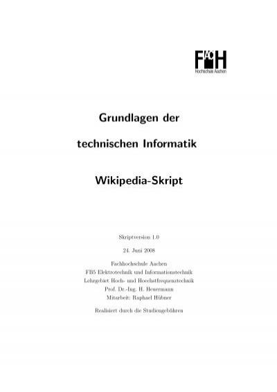 Grundlagen Der Technischen Informatik Wikipedia Skript Ing