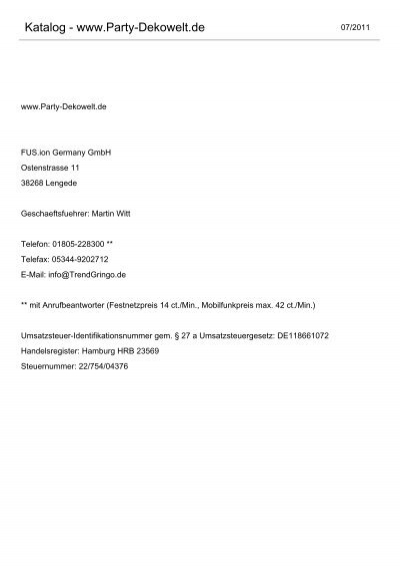 Online katalog pdf partydeko partydekoration und for Partydeko hamburg