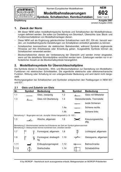 NEM 602 Modellbahnsteuerungen Symbole, Schaltzeichen ...