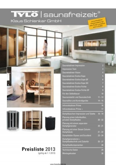 preisliste von tyl sauna dampfbad dampfdusche infrarotkabine. Black Bedroom Furniture Sets. Home Design Ideas