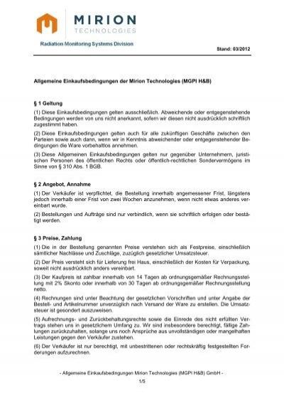 Allgemeine Einkaufsbedingungen Der Mirion Technologies Mgpi