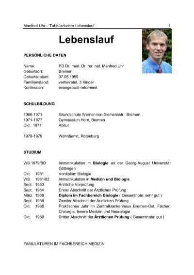 cv pdf max planck institut fr psychiatrie mnchen gegenchronologischer lebenslauf - Tabellarischer Lebenslauf Sch Ler