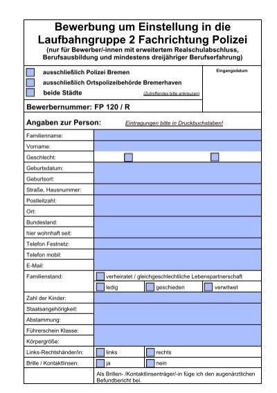 bewerbung ereal neupdf polizei bremen - Polizei Bremen Bewerbung
