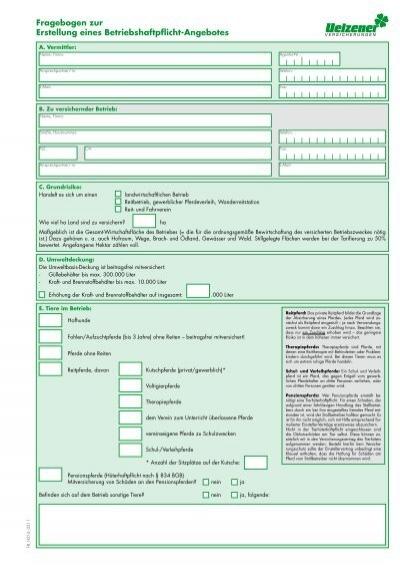 Fragebogen Zur Erstellung Eines Betriebshaftpflicht Angebotes