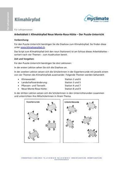 Arbeitsblatt I: Klimahörpfad Neue Monte-Rosa-Hütte – Der Puzzle ...
