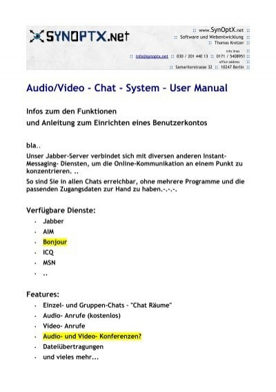 chat video anruf online kostenlos