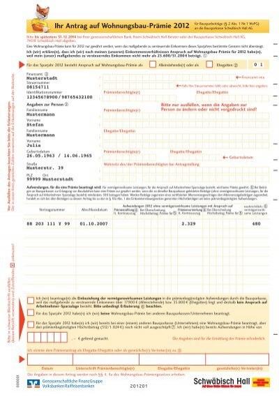 Antrag Wohnungsbauprämie Ausfüllen : antrag auf wohnungsbau pr mie 2012 ~ Lizthompson.info Haus und Dekorationen