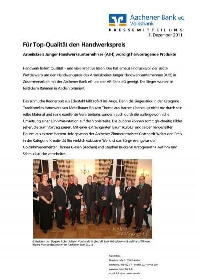 Für Top-Qualität den Handwerkspreis - Aachener Bank eG on