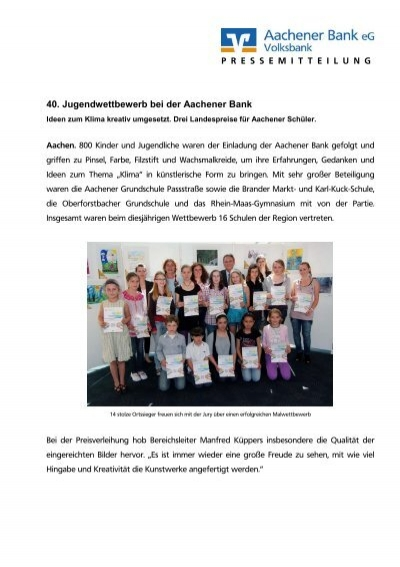 40. Jugendwettbewerb bei der Aachener Bank - Aachener Bank eG on