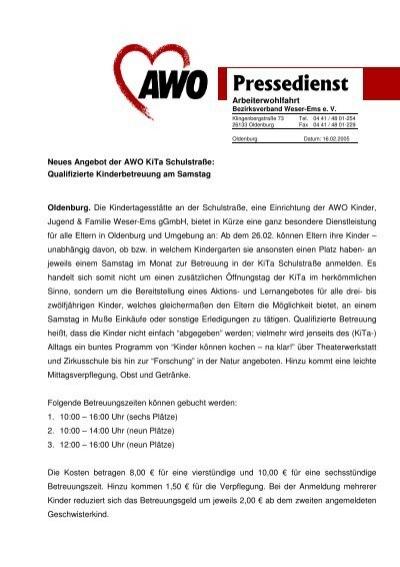 Neues Angebot Der Kita Schulstraße Awo Bezirksverband Weser