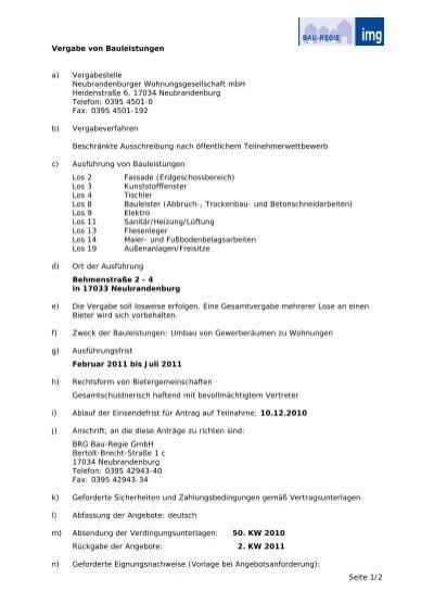 Seite 12 Vergabe Von Bauleistungen A Vergabestelle Bau Regie