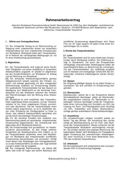 Rahmenarbeitsvertrag Muster Workplanet