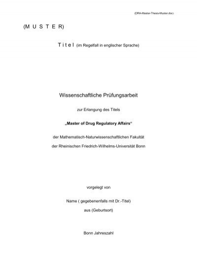 muster fr titelblatt und gliederung der master thesis dgra - Konzept Muster
