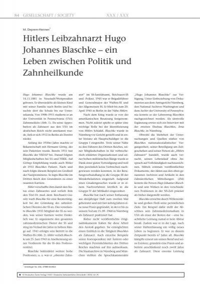 hitlers leibzahnarzt hugo johannes blaschke deutsche - Hitler Lebenslauf