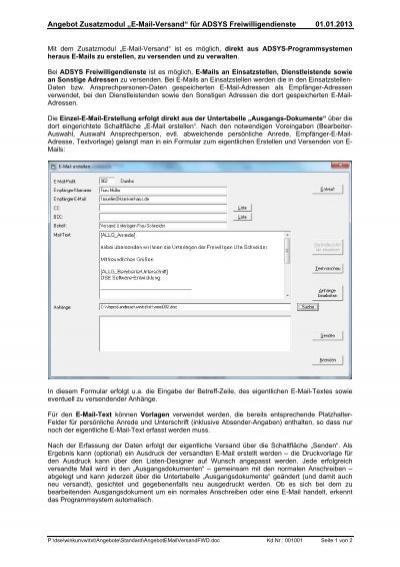 Angebot Zusatzmodul E Mail Versand Für Adsys