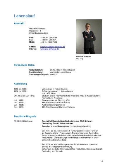 Lebenslauf - Gsc Schwarz Consulting Gmbh
