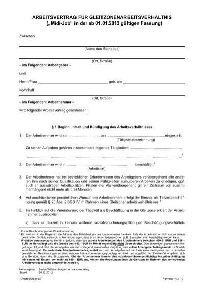Arbeitsvertrag Für Gleitzonenarbeitsverhältnis